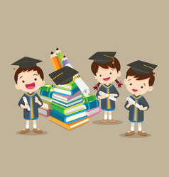 congratulations students and big books vector image