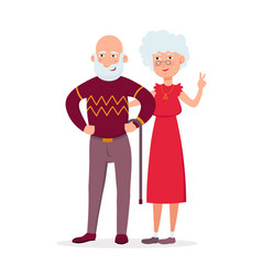 couple of cute elderly standing together vector image