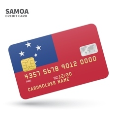 Credit card with Samoa flag background for bank vector