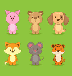 Cute character animal set vector
