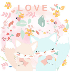 cute couple fox in spring flower garden vector image