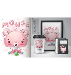 cute mouse - poster and merchandising vector image