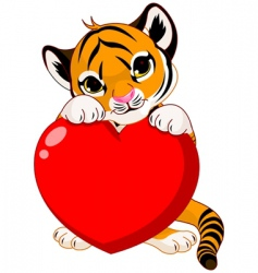cute tiger cub holding heart vector image