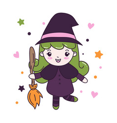 cute witch girl with fly broom vector image