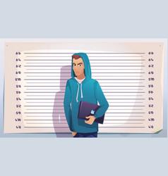 cyber crime hacker mugshot it criminal teenager vector image