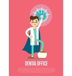 Dental office banner with male dentist vector
