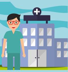 doctor in surgeon uniform staff professional vector image