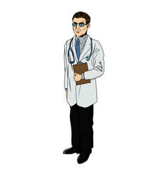 doctor professional holding clipboard and vector image