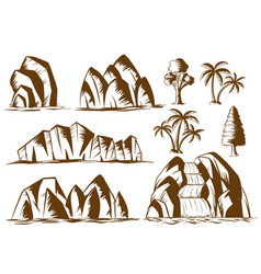 Doodle mountains and trees vector