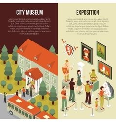 Fine Art Museum 2 Isometric Banners vector