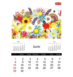 Floral calendar 2014 june vector