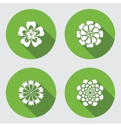 Flower icons set Chamomile geranium daisy vector