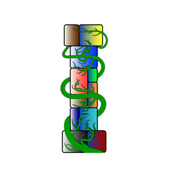 Font in a multicolored cubic style letter i vector