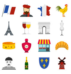 France travel set flat icons vector
