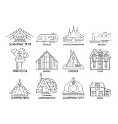 Glamping accommodation line icon vector