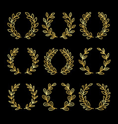 gold linear wreath set vector image