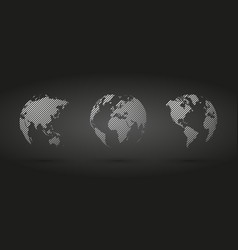 gray hatched globe simple icon on black background vector image