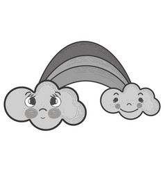 grayscale kawaii rainbow with clouds with faces vector image