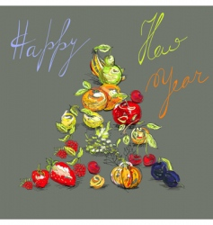greeting card with fruit vector image