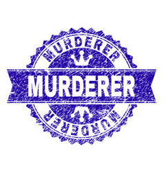 Grunge textured murderer stamp seal with ribbon vector