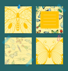 hand drawn insects cute notes isolated vector image