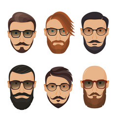 Hipster face on a white background bearded man vector