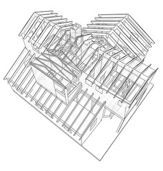 house drawing in the contours of the house vector image