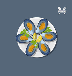 Icon of mussels on a plate top view vector