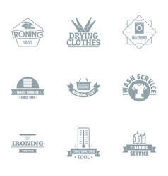 iron logo set simple style vector image