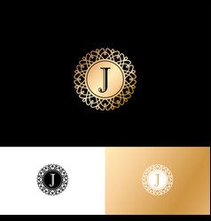 j gold letter monogram gold circle lace ornament vector image
