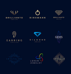 Jewellery company logos set vector