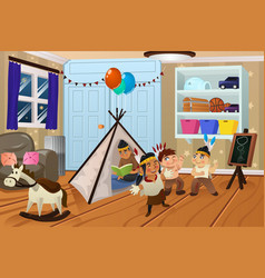 kids playing in the bedroom vector image