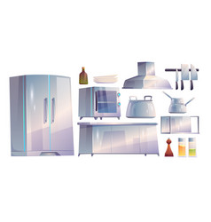 kitchen restaurant appliances and furniture set vector image