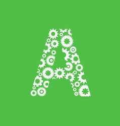 letter a with gear on green background vector image
