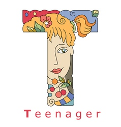 Letter T teenager vector