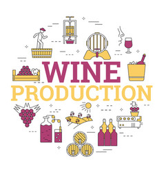 Linear concept of wine production vector