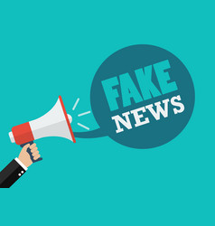 Male hand holding megaphone with fake news speech vector
