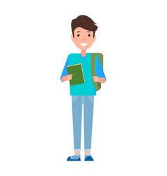 Male student teenage schoolboy freshman textbook vector