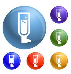 man insulin spray icons set vector image