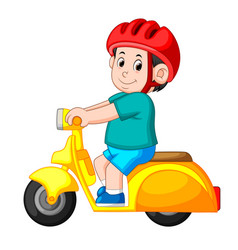 Man ride the yellow scooter motorcycle vector