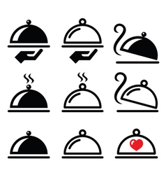 Meal dinner food platter icons set vector