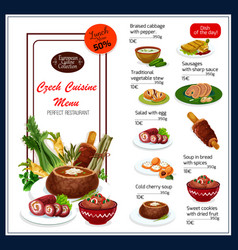 Menu for czech cuisine dishes vector