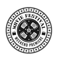 movie festival emblem label badge or logo vector image