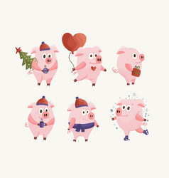 new year 2019 set with christmas flat pink pigs vector image