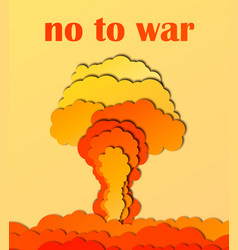 no to war poster nuclear explosion 3d abstract vector image