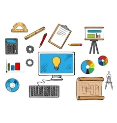 Online inspiration idea and research concept vector