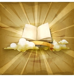 Open book old style background vector image