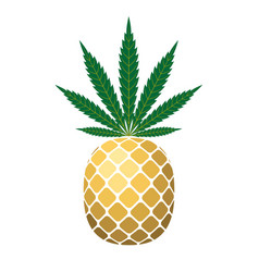 Pineapple golden with green cannabis leaf vector