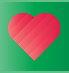 pink heart of gradient stripes on green background vector image