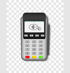 Pos terminal machine for payment credit card vector